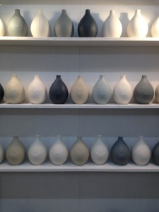 Collection of tear drop vases.