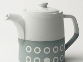 Graphic T-Pot (2 mug); Circles. Concrete colour/white glaze top