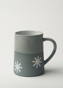 Graphic Starburst - Concrete colour/Clear Glaze Top 120z Porcelain Taper Mug