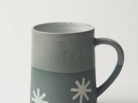 Graphic Starburst - Concrete colour/Clear Glaze Top 120z Porcelain Taper Mug