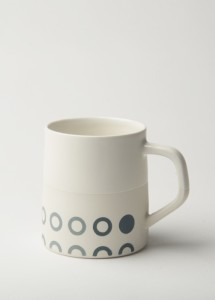 Graphic Circles - White /White Glaze Top 12 oz Porcelain Mug