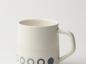 Graphic Circles - White /White Glaze Top 12 oz Porcelain Mug