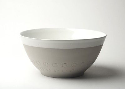"Graphic 10"" Serving Bowl: Circles. Oyster grey/white glaze top"