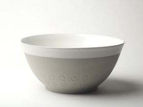 "Graphic 10"" Diameter serving bowl. 'Circles'. Grey/white glaze top."